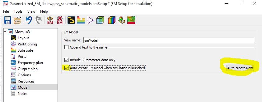 that emmodel will show up in the list of cell views, and is the container  that holds em simulation data  when an emmodel is called from a schematic,